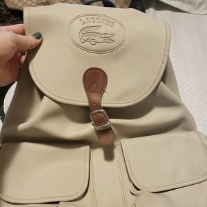 Authentic Lacoste vintage leather backpack
